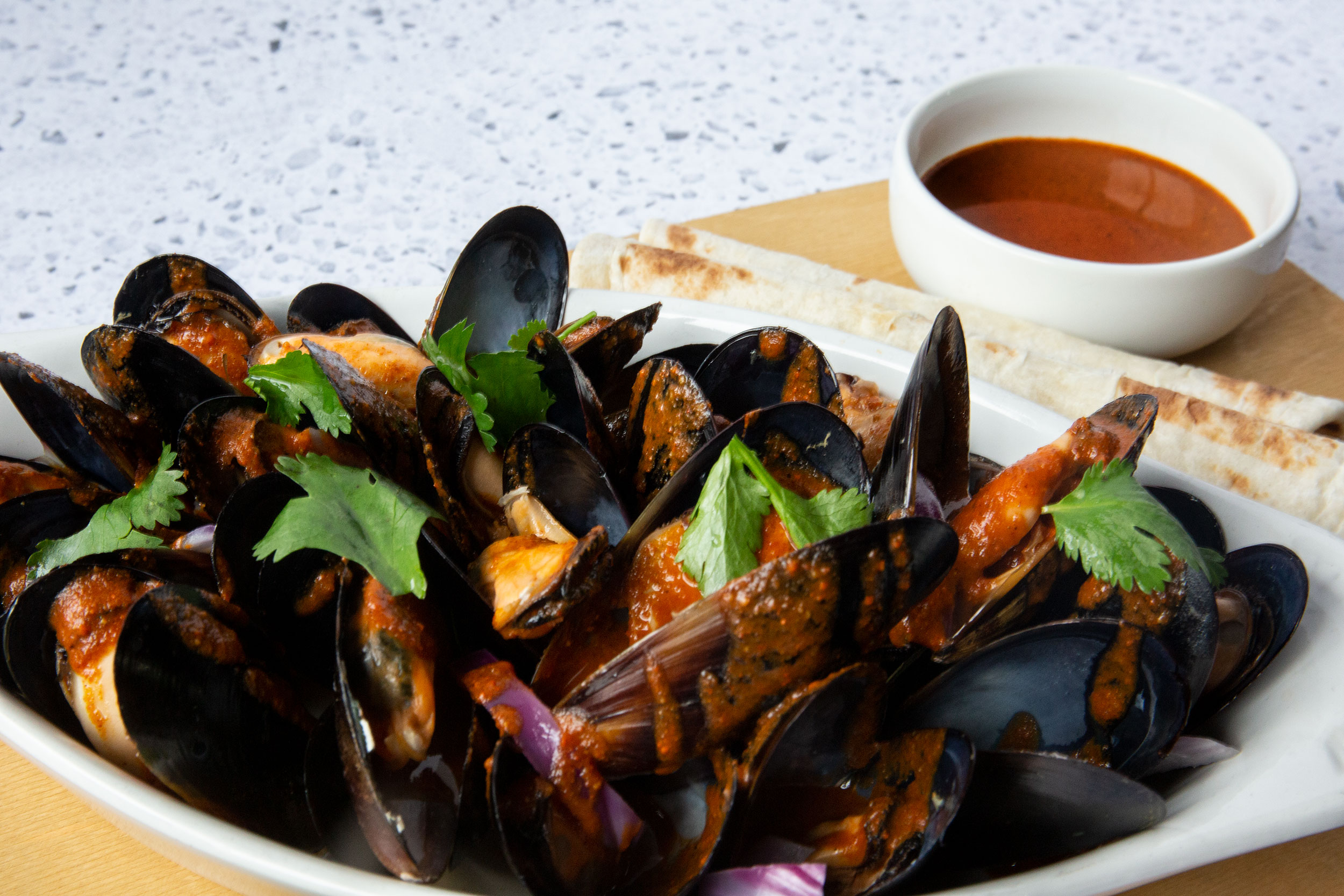 Mussels with Oaxacan Mole Amarillo