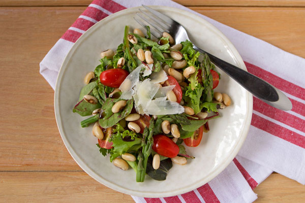 European Soldier Bean, Asparagus and Tomato Salad