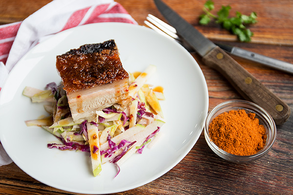 Pork Belly with Apple Slaw and Burnt Chile Sauce