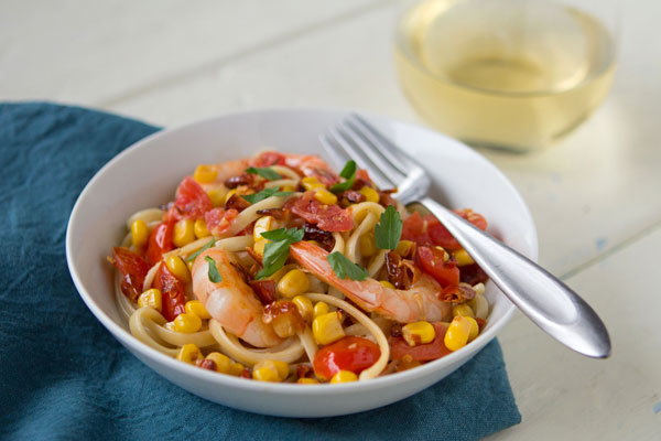 Linguine Tossed With Pequin and Shrimp