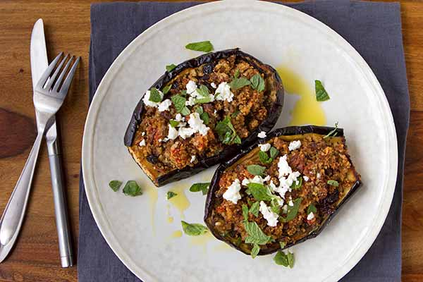 Roasted Eggplant Stuffed with Lamb-Bulghur Pilaf