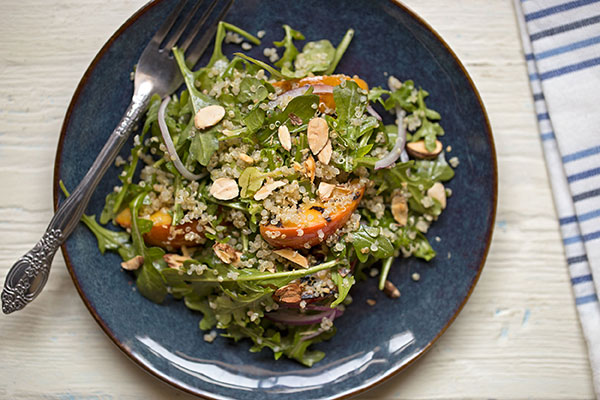 Quinoa Salad with Grilled Peaches, Almonds & Arugula