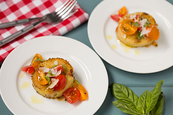 Autumn Squash Polenta Cakes with Bacon