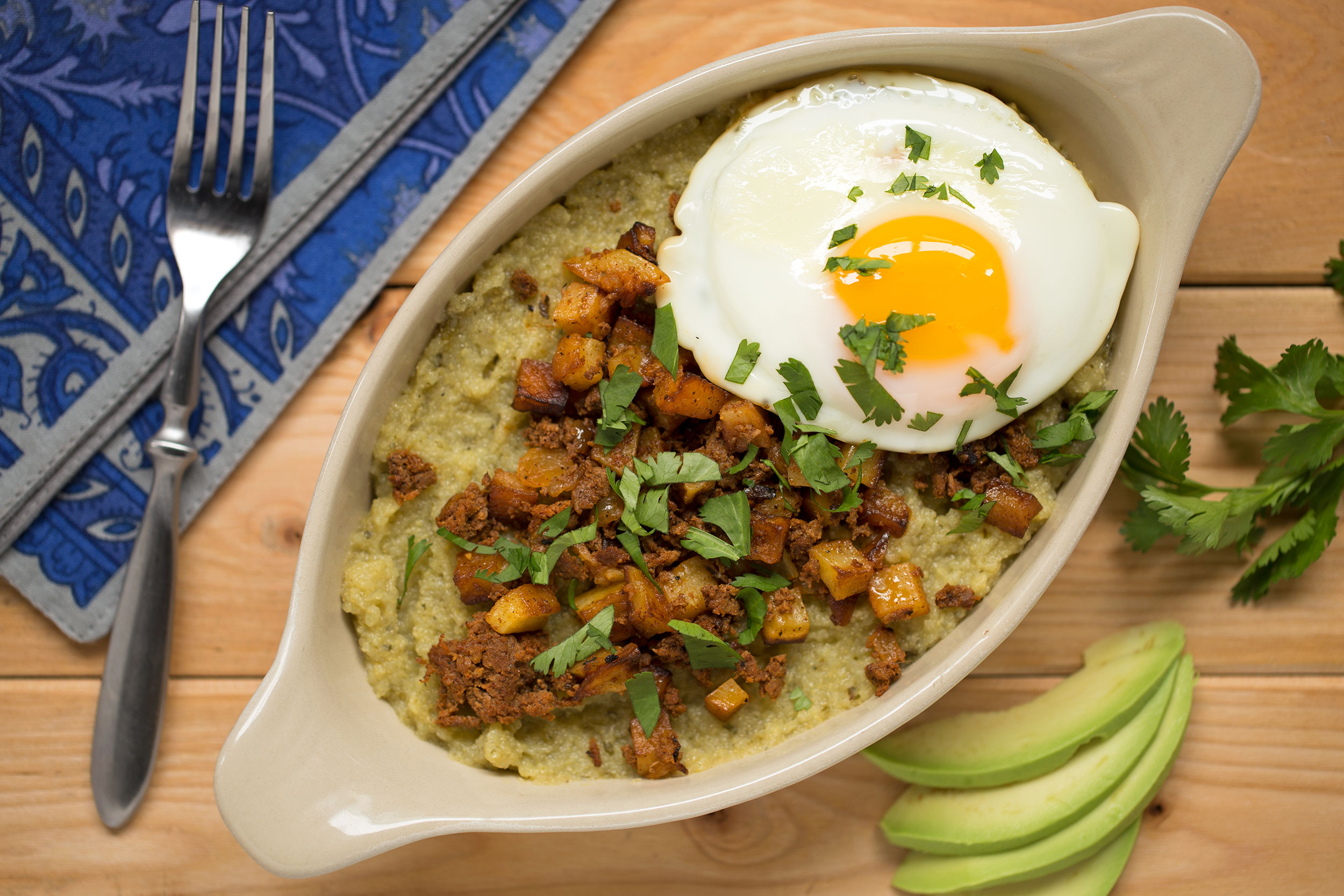 Southwestern Green Chile Polenta Breakfast Bake