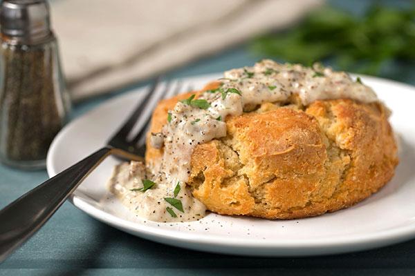 Gluten-Free Baking-Powder Biscuits with Sausage Gravy