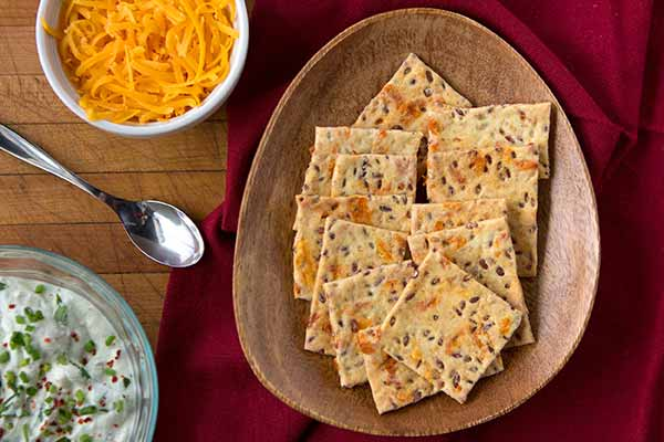 Flax Seed Cheddar Crackers