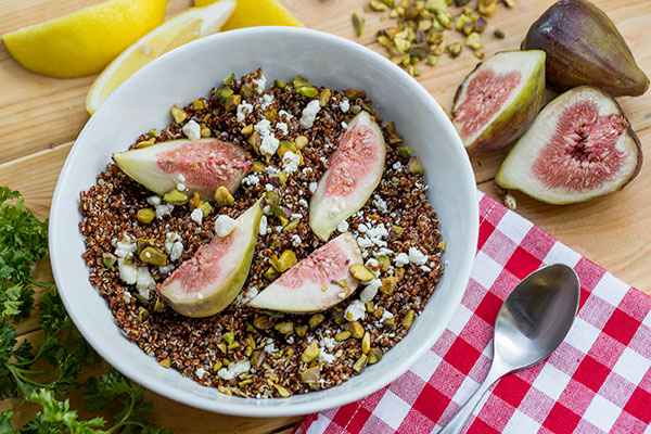 Red Quinoa with Figs, Pistachios and Citrus Vinaigrette