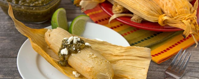 Sweet Corn, Chicken and Cheese Tamales