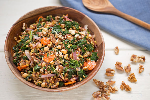 Ancient Grain and Kale Salad with Honey Lemon Vinaigrette