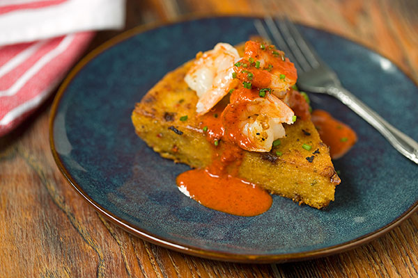 Shrimp and Sweet Pepper Polenta Cakes