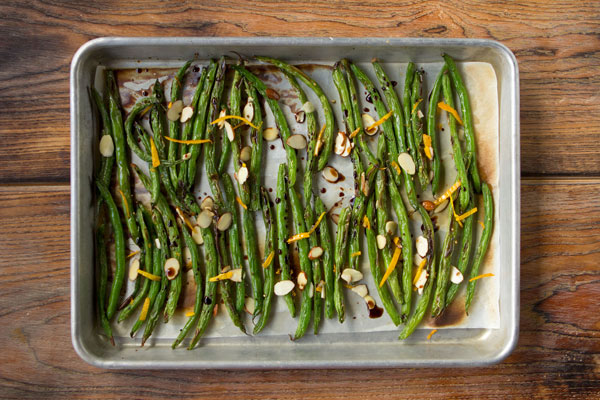 Peppery Roasted Haricots Verts with Orange Zest and Almonds
