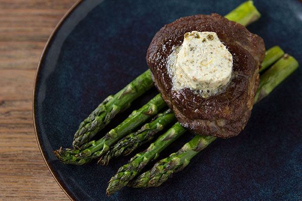 Pan-Seared Filet Mignon with Green Peppercorn Compound Butter