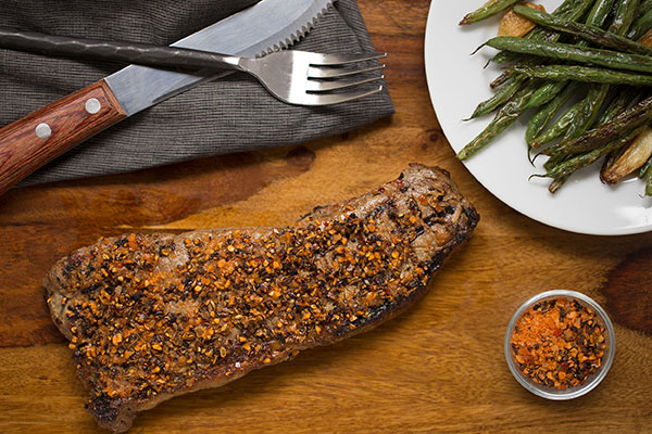 Herbed Garlic-Pepper Rubbed New York Strip Steaks
