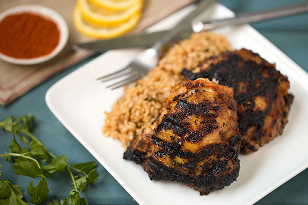 Grilled Berbere-Rubbed Chicken Thighs