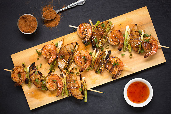 Shrimp, Asian Pear and Scallion Skewers with Far East Rub