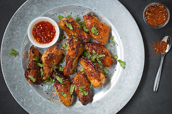 Oven Roasted Chicken Wings with Schichimi Togarashi and Soy Glaze