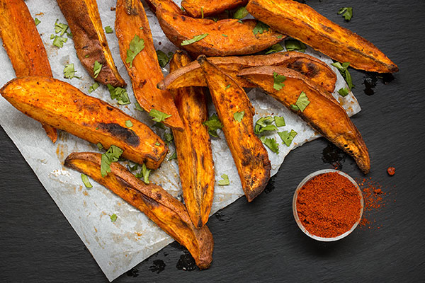Smoky Harissa Roasted Sweet Potato Wedges