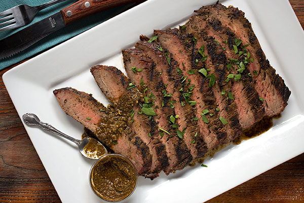 Chimichurri Rubbed Flank Steak