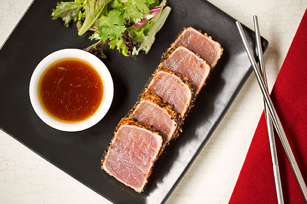 Crusted Seared Tuna with Sweet Soy-Lime Vinaigrette