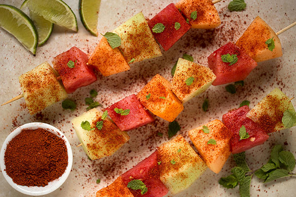 Chile-Lime Melon Skewers