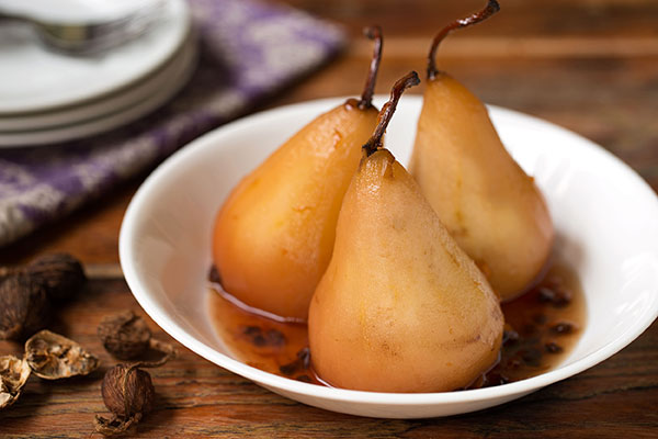 Cardamom Poached Pears with Orange