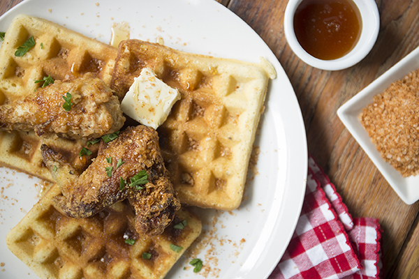 Sriracha Sea Salt Chicken and Waffles