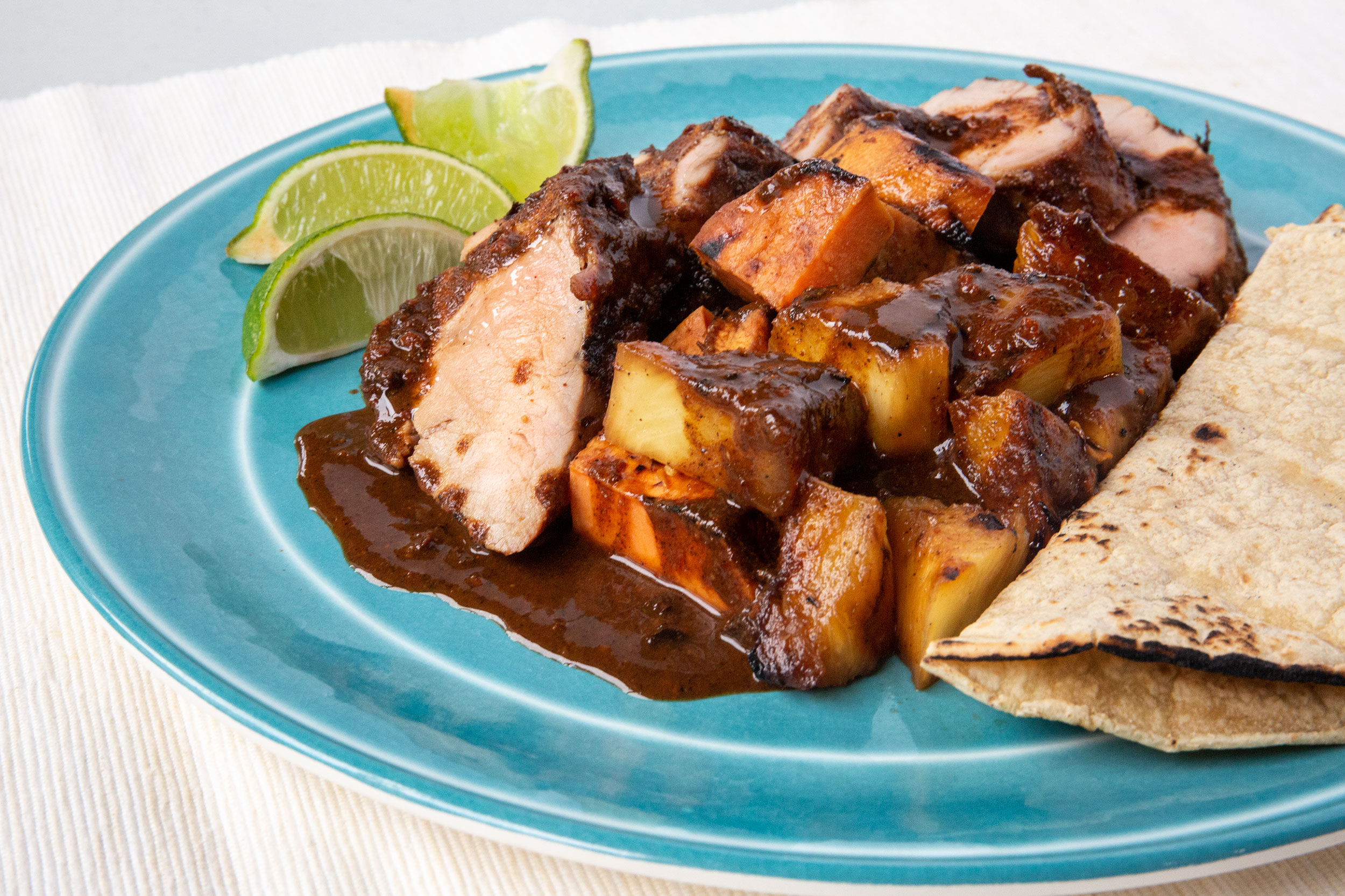Grilled Pork, Yams & Pineapple with Machamanteles Mole