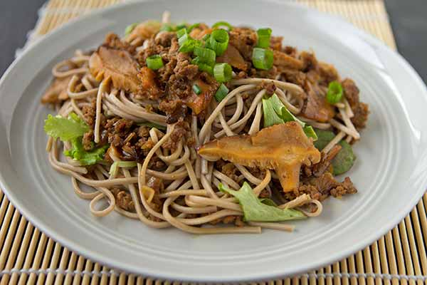 Soba Noodles with Ground Pork, Shiitakes and Mustard Greens