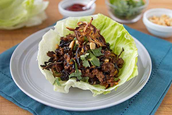 Pork and Cloud Ear Mushroom Lettuce Wraps