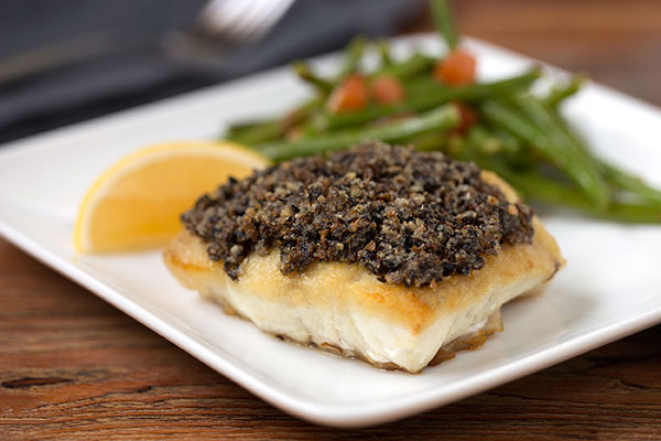 Mushroom Crusted Red Snapper