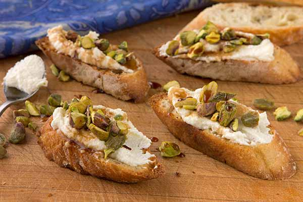 Ricotta and Pistachio Crostini
