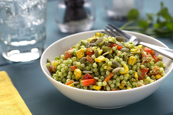 Middle Eastern Couscous Salad with Cilantro-Pepita Pesto