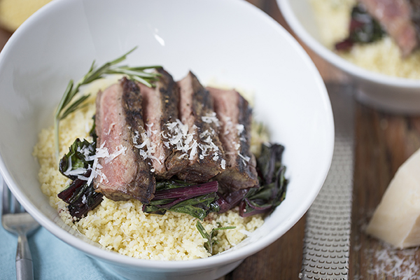Parmesan and Rosemary Couscous with Steak and Greens