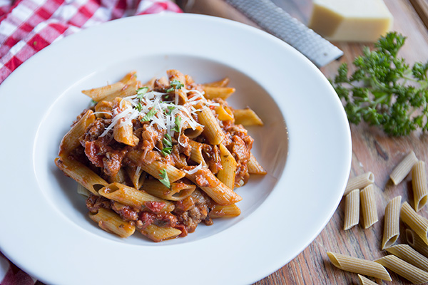 Green Pea Penne with Sausage Ragout