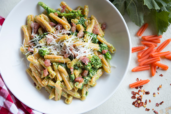 Red Lentil Strozzapreti with Pancetta, Broccoli Rabe and Walnut Pesto