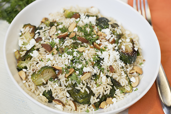 Brown Rice with Brussels Sprouts, Almonds and Goat Cheese