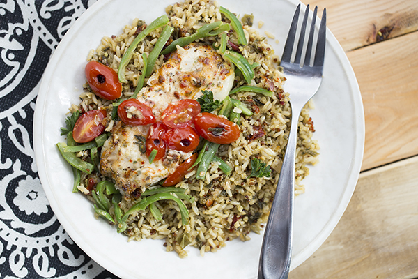 One-Dish Seabass and Mediterranean Pilaf