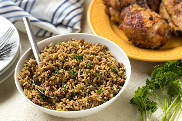 Hickory Chicken and Heritage Grain Pilaf