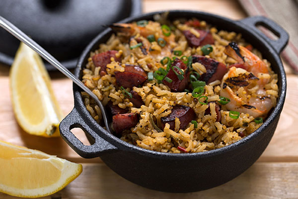 Lowcountry Red Rice with Shrimp and Sausage