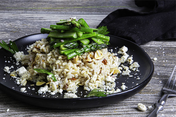 Brown Rice Salad with Asparagus and Goat Cheese