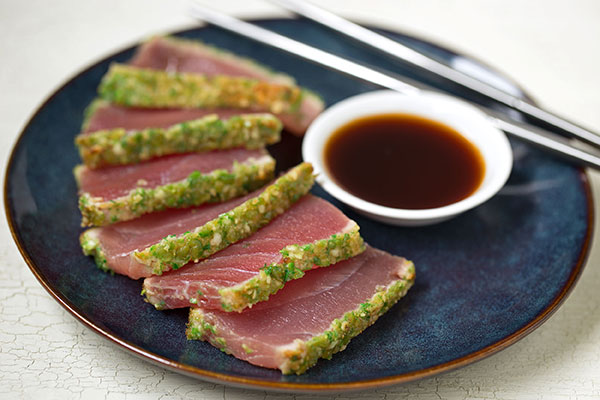 Seared Rare Ahi Tuna with Wasabi Pea Crust