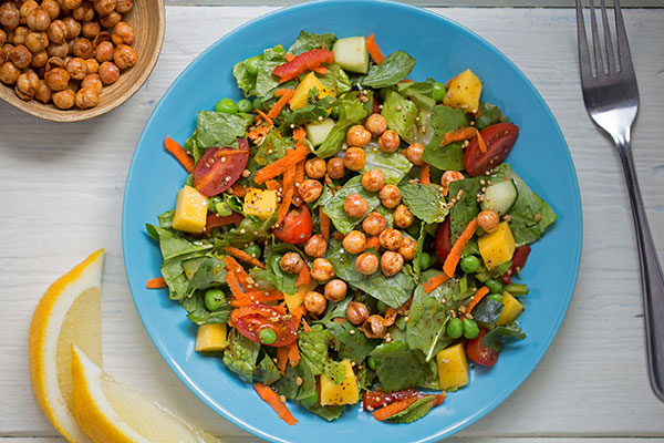 Indian Chopped Vegetable Salad with Crunchy Masala Roasted Chickpeas