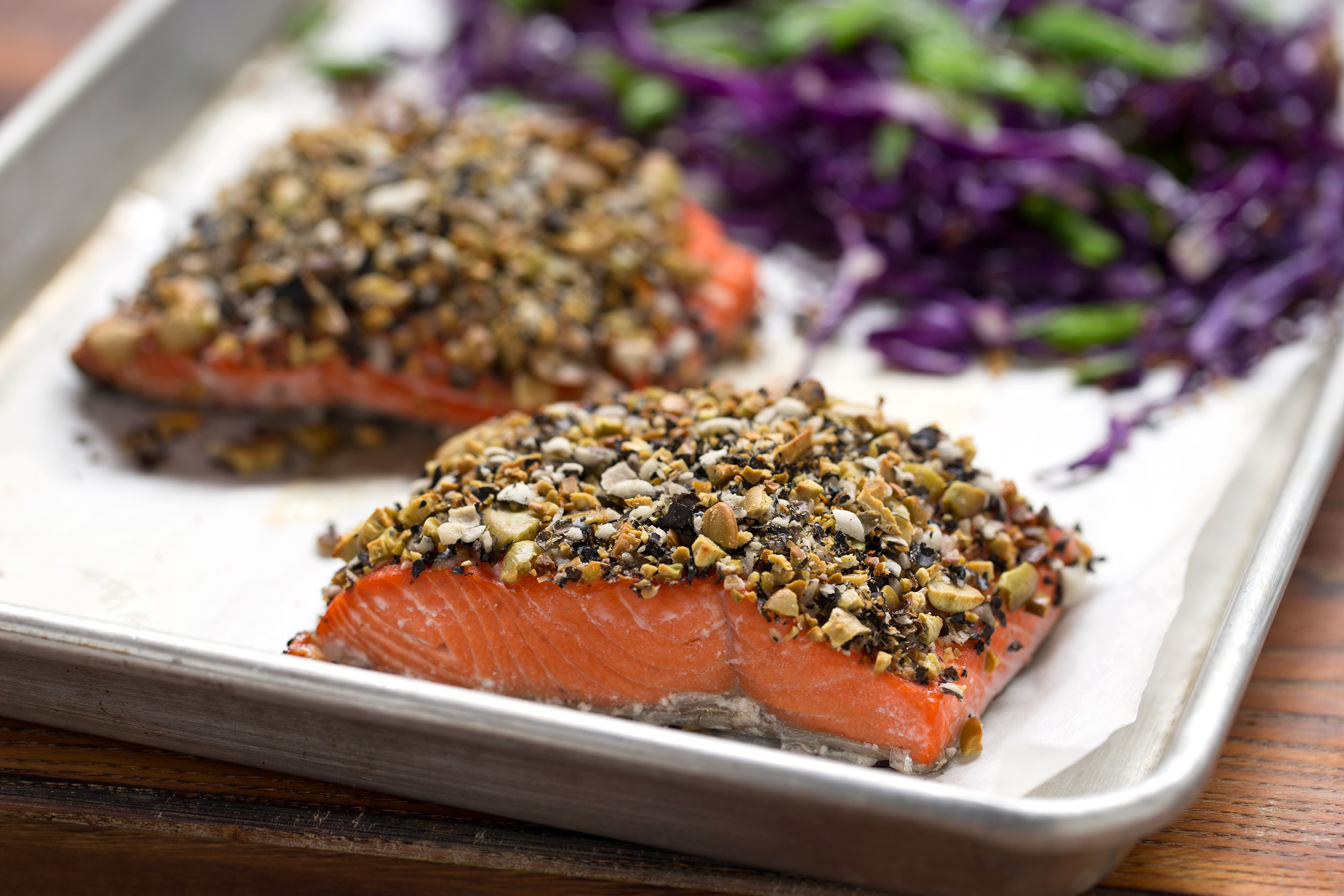 Crunchy Salmon With Wasabi Black Bean Topping