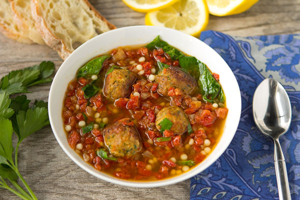 Middle Eastern Chicken Meatball and Couscous Soup