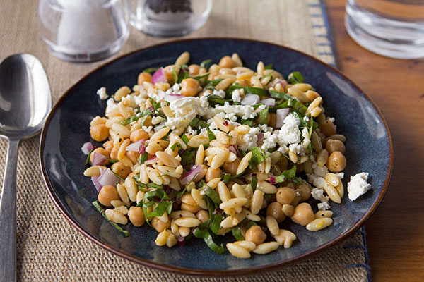 Warm Toasted Orzo Salad with Beet Greens and Lemon