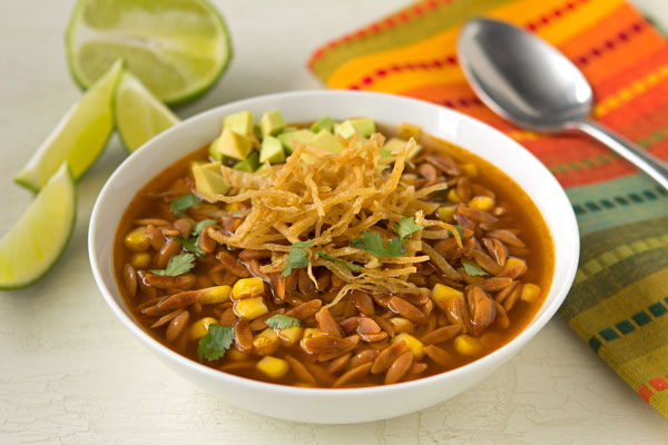 Chicken Tortilla Soup with Southwest Red Pepper Orzo