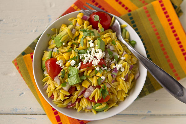 Maize Orzo Salad with Corn, Avocado and Tomatoes