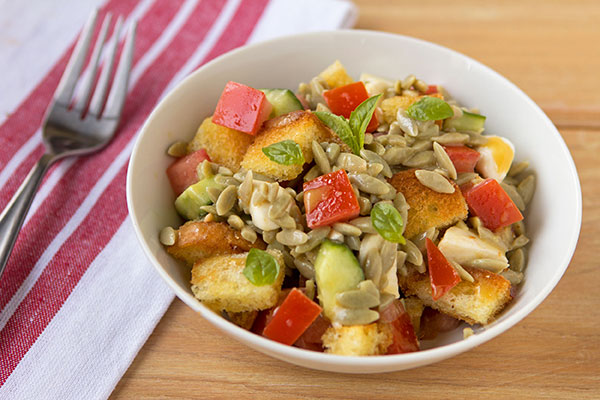 Panzanella Salad with Orzo