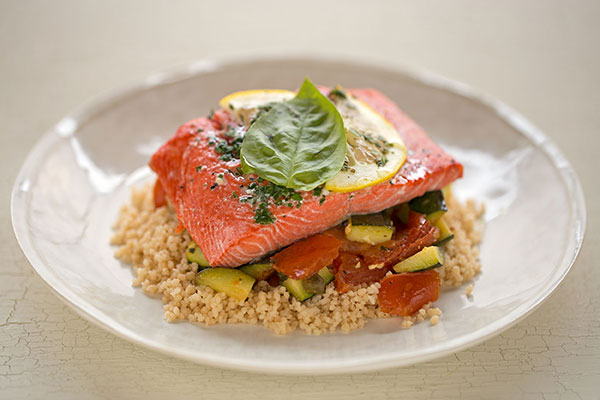 Mediterranean Couscous with Salmon in Parchment