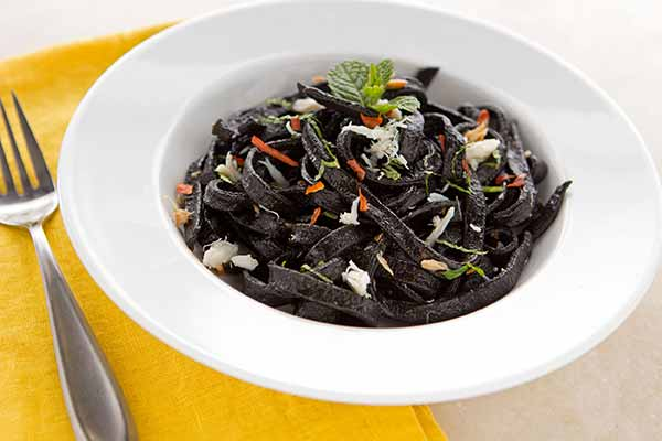 Handmade Squid Ink Fettucine with Crab, Mint and Chile